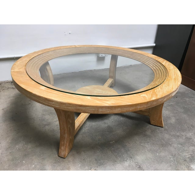 Art Deco 1940s Mid-Century Modern Paul Frankl for Brown Saltman Round Cerused Oak Coffee Table For Sale - Image 3 of 12
