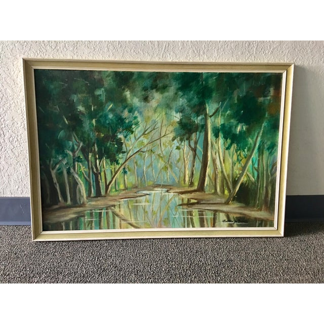 1940s Forest Painting on Board Framed - Image 3 of 6