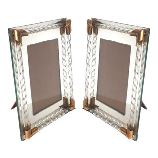 Pair of Art Deco Mirrored Picture Frames With Murano Glass Rope, 1940's For Sale