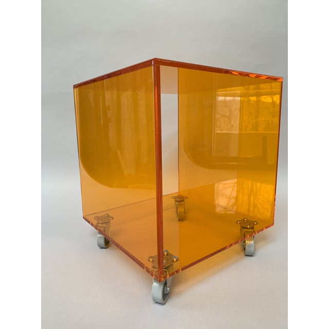 1990s Modern Translucent Orange Lucite Rolling Storage Cube/Side Table on Wheels For Sale - Image 4 of 11
