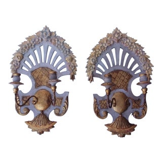 Pair of Vintage European Wall Sconces With Pierced Backs