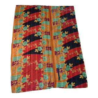 Contemporary Style Kantha Blanket - 60ʺw × 87ʺh For Sale