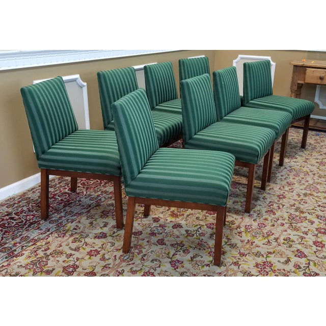Green Dining Room Chairs: 1970s Directional Contract Furniture Green Striped