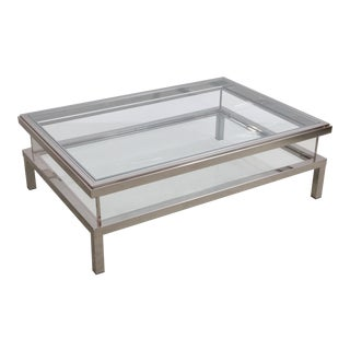 Huge Maison Jansen Sliding Top Coffee Table in Chrome For Sale