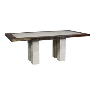 "Contemporary Tessellated Stone and Natural Materials ""Collage"" Rectangular Dining Table For Sale"