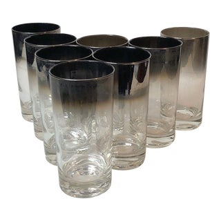 Vintage Mid-Century Chrome Fade Highball Glasses - Set of 8 For Sale