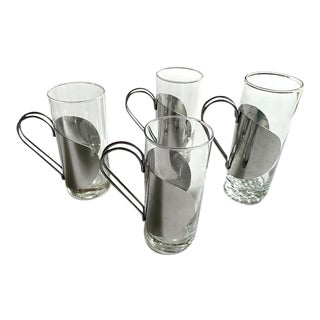 Set of 4 Glass and Chrome Glasses For Sale