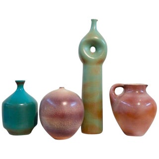 Suzanne Ramie, Madoura Studio, Four Colorful Ceramic Vases For Sale