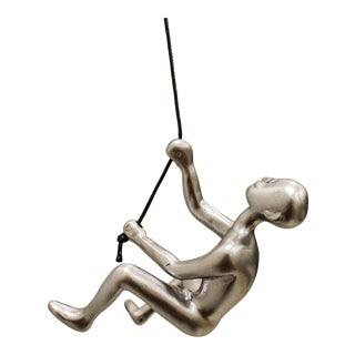 Silver Position 5 Climbing Man Wall Art For Sale