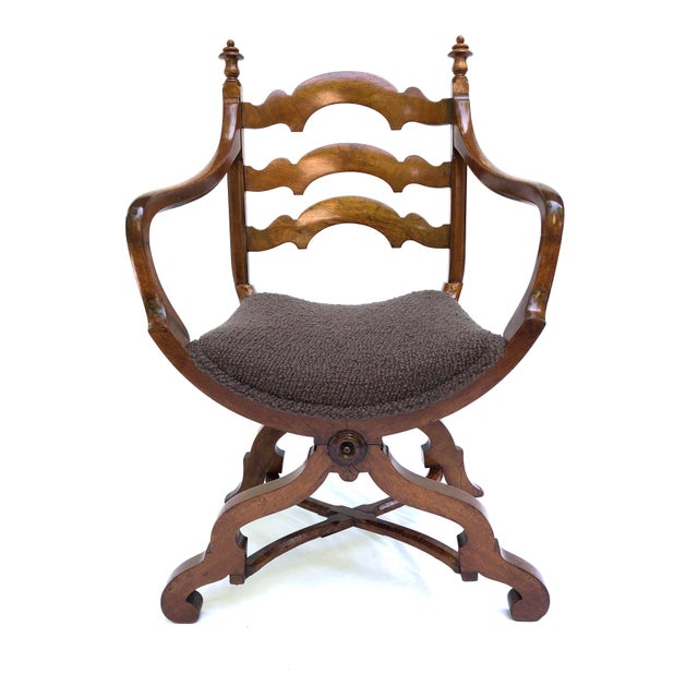 20th Century Italian Cross Base Neoclassical Wood Armchair For Sale - Image 11 of 11