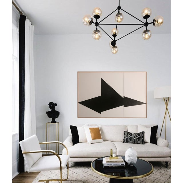 This original Jason Trotter Painting – Black On Point Triptych - JET0462 – from the Triptych Formation Series features...