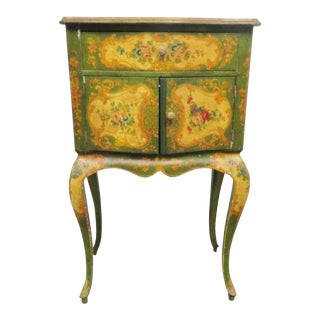 Italian Florentine Floral Painted Nightstand For Sale