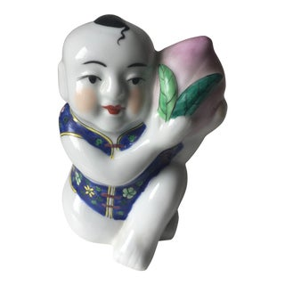Vintage Chinese Hand-Painted Ceramic Boy With Peach