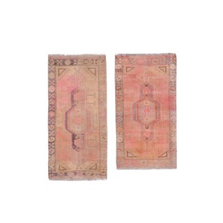 """Distressed Traditional Turkish Small Handmade Door Mat Rug - a Pair 1'9"""" X 3'2"""" For Sale"""
