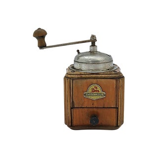 French Wood & Metal Coffee Grinder For Sale