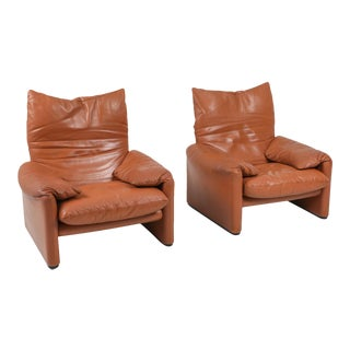1970s Maralunga Cognac Leather Club Chairs by Vico Magistretti for Cassina - a Pair For Sale