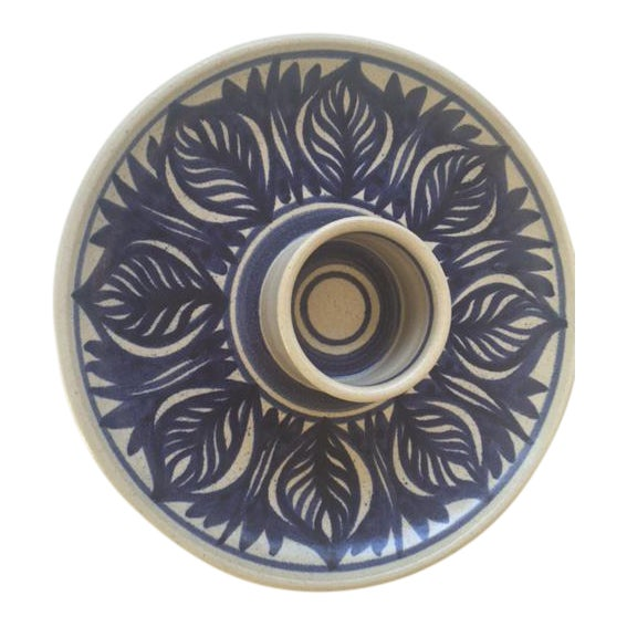 Blue Leaf Painted Stoneware Chip & Dip Serving Dish - Image 1 of 9