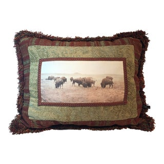 Buffalo Grazing North Montana Landscape Pillow