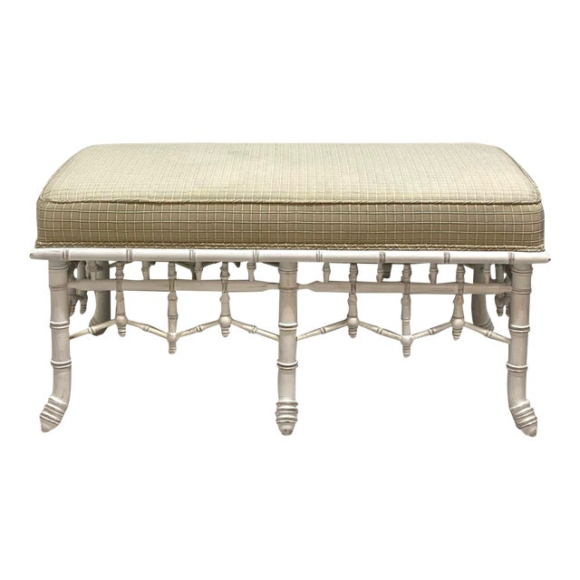 1990s Vintage Faux Bamboo Wooden Bench With Upholstered Top For Sale