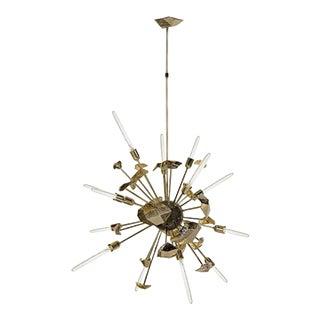 Art Deco Casted Brass Brushed Gold Supernova Chandelier For Sale