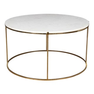 1980s Modern Marble Top Round Coffee Table For Sale