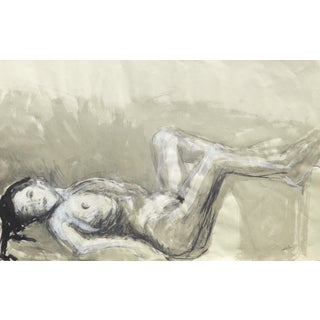 Modern Nude Art Drawing in Ink and Pastel on Paper by Martha Holden For Sale