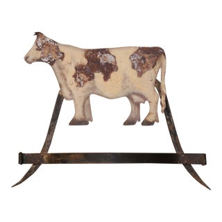 Vintage Italian Carved Painted Wrought Iron and Tin Cow Sculpture Wall Hanger For Sale