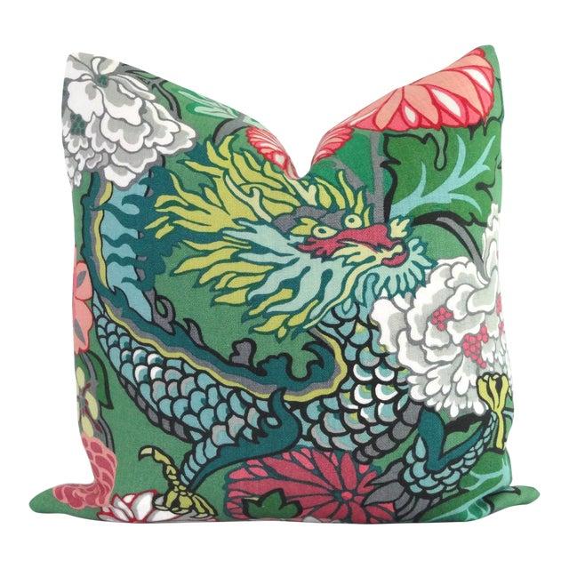 "20"" x 20"" Jade Schumacher Chiang Mai Dragon Decorative Pillow Cover For Sale"