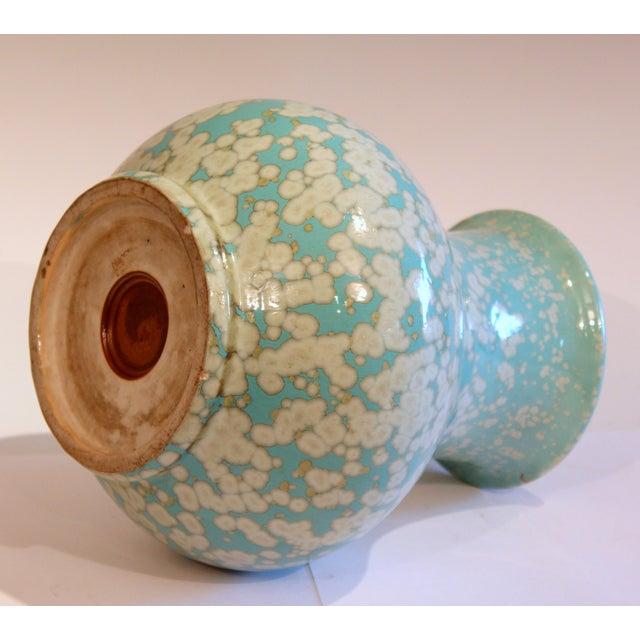 1930s Japanese Studio Porcelain Antique Old Crystalline Sky Blue Hu Form Vase For Sale - Image 5 of 12