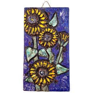 Floral Ceramic Tile Wall Plaque For Sale