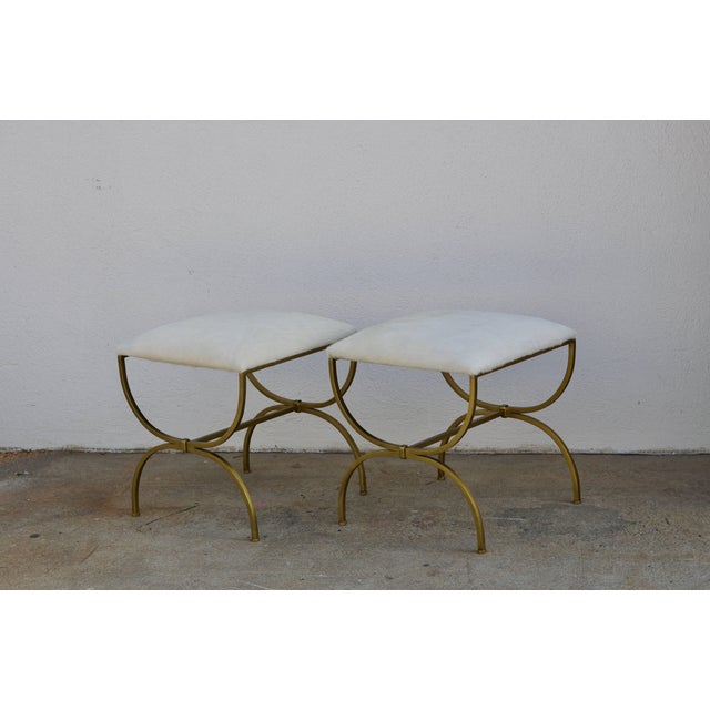 Metal Pair of Gilt Wrought Iron and Hide Stools by Design Frères For Sale - Image 7 of 7