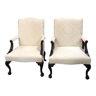 Presidential Mahogany Chippendale Library Chairs - a Pair For Sale