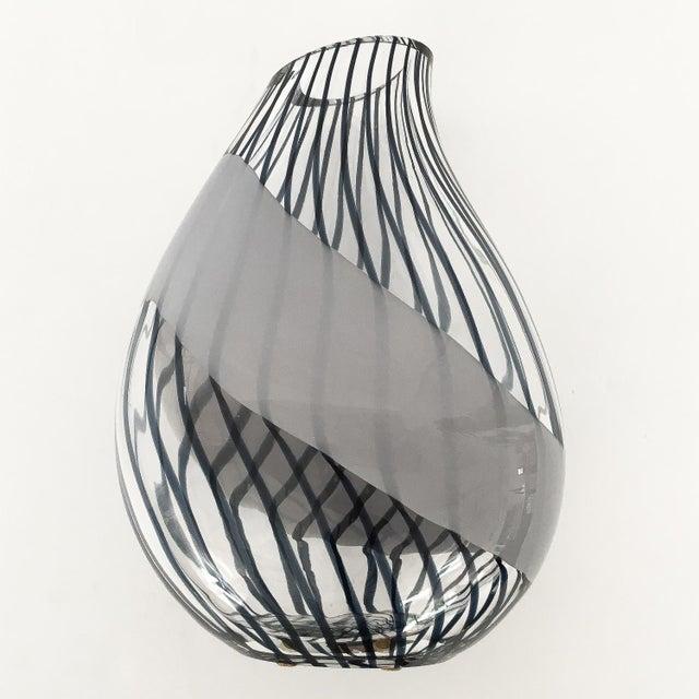 Mid-Century Modern Livio Seguso Striped Murano Art Glass Vase For Sale - Image 3 of 13