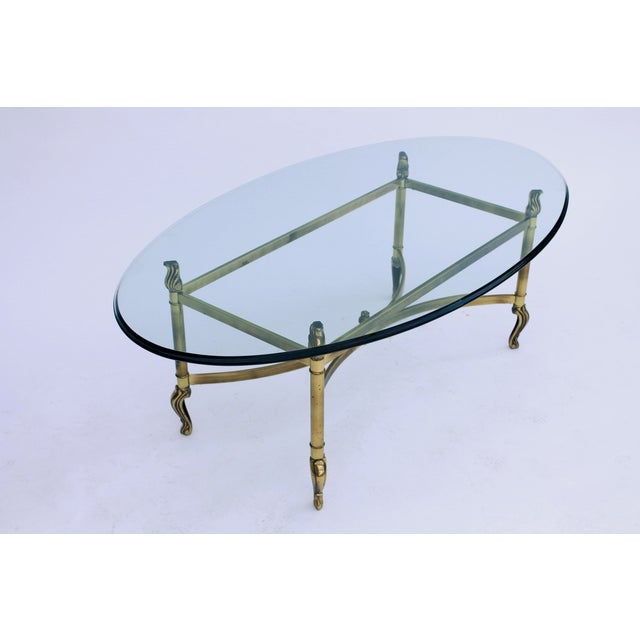 Oval Brass & Glass Coffee Table - Image 6 of 7