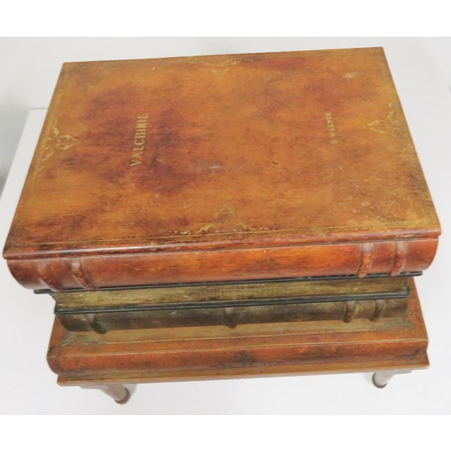 French Style Leather Book Stack Side Table For Sale In Philadelphia - Image 6 of 7