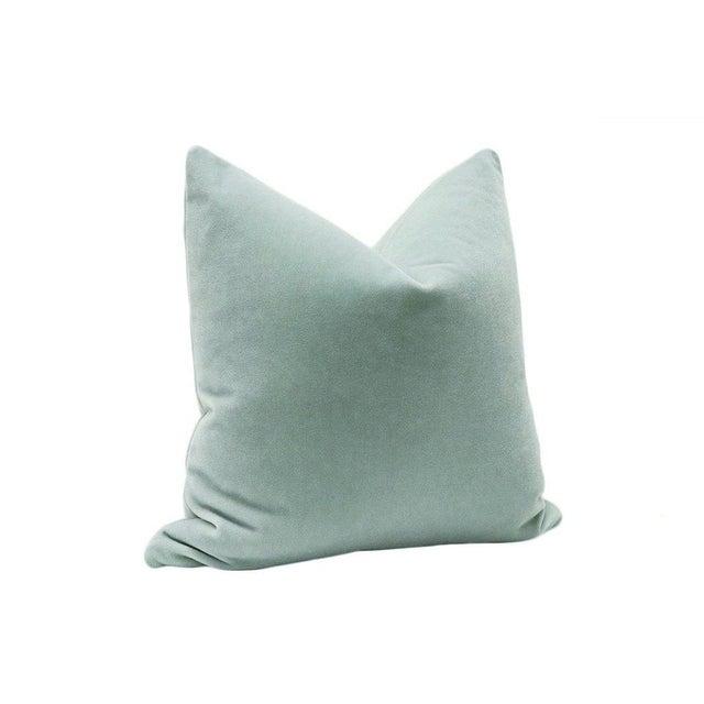 "22"" Mohair Velvet Pillows in Spa Blue - A Pair - Image 3 of 5"
