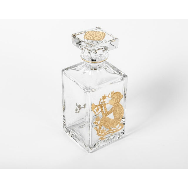 Contemporary European Crystal Decanter with Gold Monkey Design For Sale - Image 3 of 5