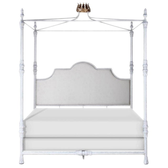 Swede Collection King Metal Bed With Crown Canopy For Sale