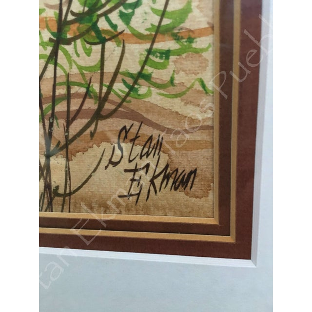 Rare Stanley Ekman the Taos Pueblos Original Watercolor - Image 6 of 11