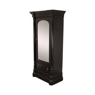 Pennsylvania House Cortland Manor Empire Style Black Mirror Door Armoire For Sale