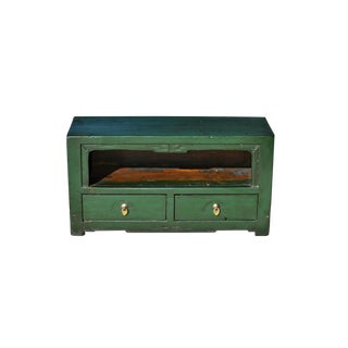 19th Century Antique Asian Small Green Wooden Altar