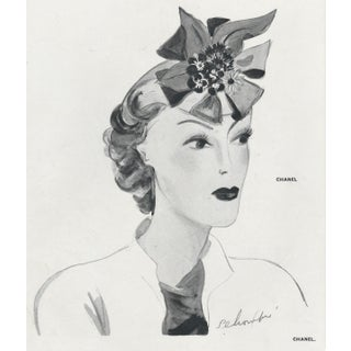Matted 1937 Chanel Fashion Hat Design Print For Sale