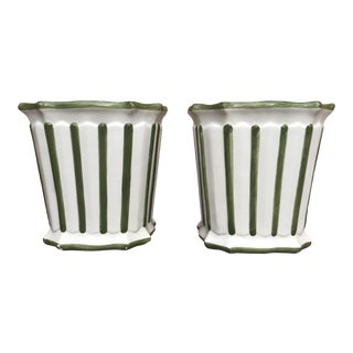 Vintage Italian Ceramic Striped Green and White Planters - a Pair For Sale