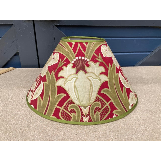 Antique French Green and Red Printed Fabric Lampshade For Sale - Image 4 of 4