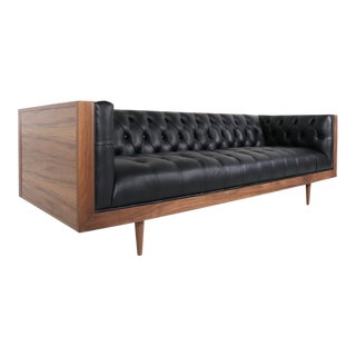 Milo Baughman Style Tufted Case Sofa For Sale