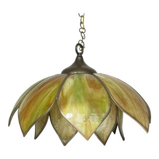 Vintage Mid-Century Boho 16 Panel Double Lotus Flower Swag Hanging Lamp For Sale