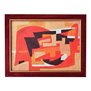 Contemporary Mid-Century Cubist Style Abstract Painting in Red and Gold For Sale