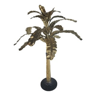 Art Deco Revival Hollywood Regency Brass Palm Tree Sculpture For Sale