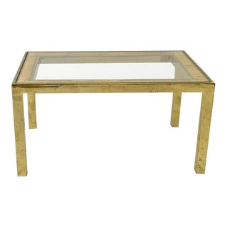 Mid Century Brass Parson's Table With Rattan- Raffia Glass Top