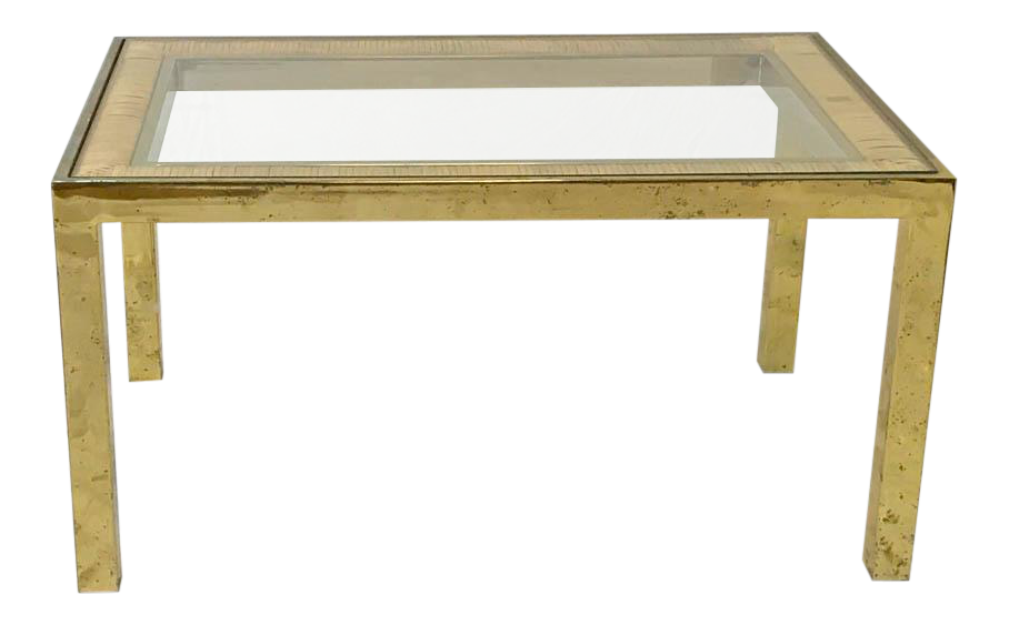 Mid Century Brass Parsonu0027s Table With Rattan  Raffia Glass Top